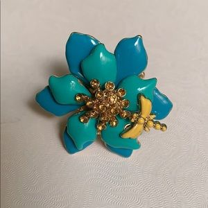 Blue and Green Flower Ring